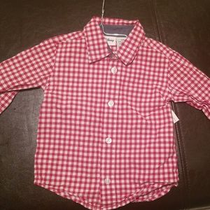 Disney red and white checkered button down shirt